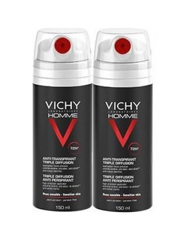 Vichy homme Déodorant anti-transpirant triple diffusion 72h Vichy 2 x 150 ml