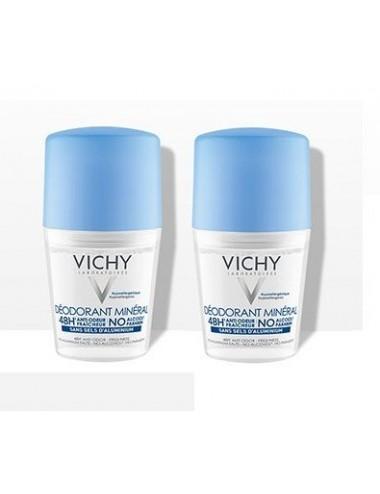 Vichy LOT*2 Déodorant bille minéral 48H actif anti-odeur d'origine naturelle 2 x 50 ml
