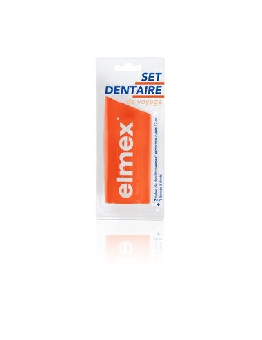 Elmex Set dentaire de voyage Anti-Caries - 1 brosse à dents + 2 mini dentifrices 12ml