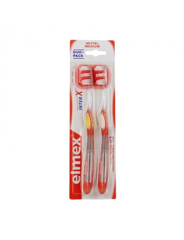 Elmex Lot Brosse à Dents Anti-Caries InterX medium tête standard - x2