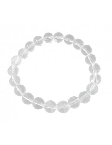 Bracelet Cristal de Roche Dépoli Pierres Boules 8mm