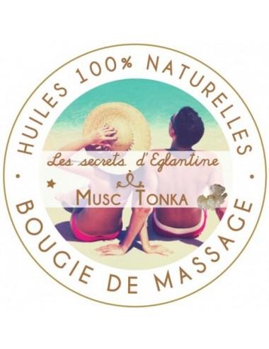 Les secrets d'Eglantine bougie de massage musc et tonka 160g
