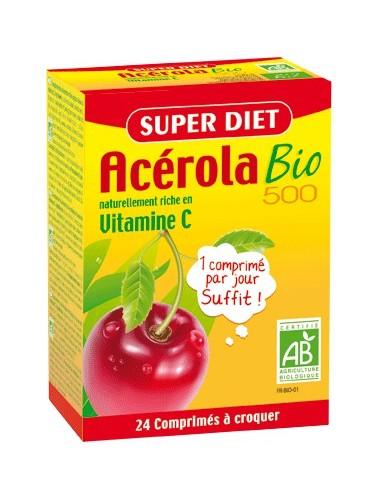 Super Diet acérola vitamine C 500 bio 24 comprimés