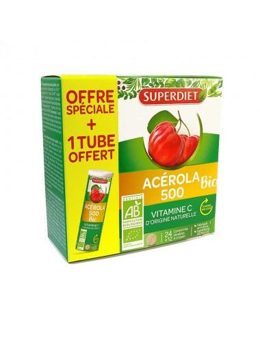 Super Diet Acérola 500 Bio 24 Comprimés + 12 Comprimés Offerts