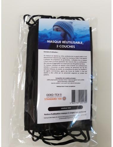 Masques réutilisables Noir - Lavables 20 fois - Lot de 5