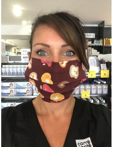 """Masque réutilisable """"Prune Fruits"""" 100% coton- Lavable 30 fois"""