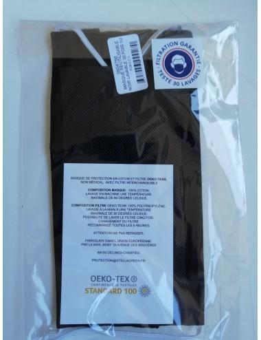 Masque réutilisable Noir 100% coton- Lavable 30 fois