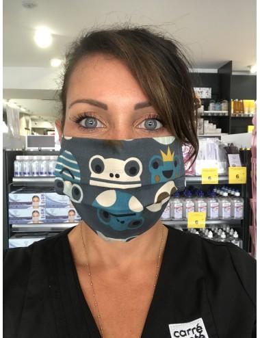 """Masque réutilisable """"Marine Grenouille"""" 100% coton- Lavable 30 fois"""