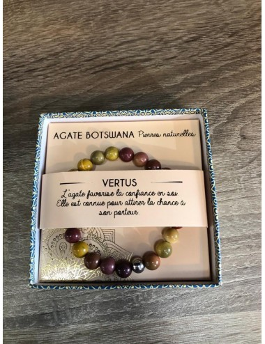Bracelet coffret Agate Botswana 8mm