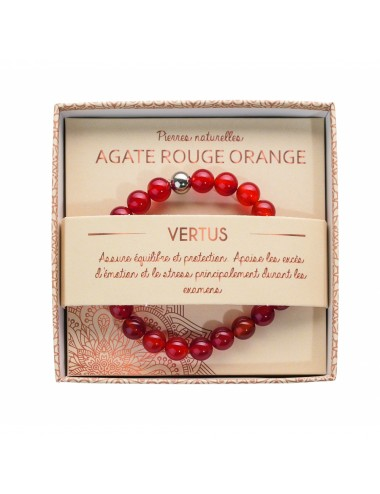 Bracelet coffret Agate Rouge Orange 8mm