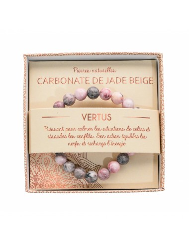 Bracelet coffret Carbonate de Jade Beige 8mm