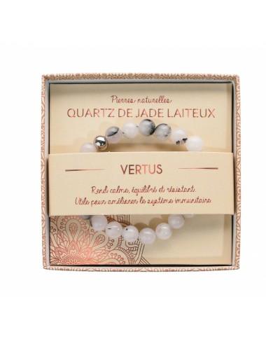 Bracelet coffret Quartz de Jade Laiteux 8mm