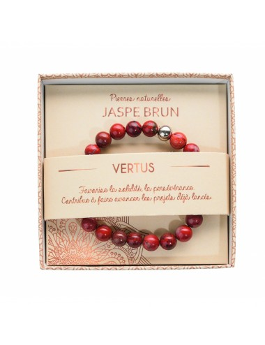 Bracelet coffret Jaspe Brun 8mm