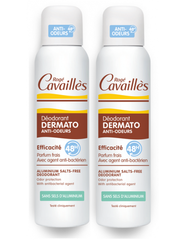 Rogé Cavaillès Déodorant Dermato Anti-Odeurs 48H Spray Sans Sel d'aluminium 2x150ml