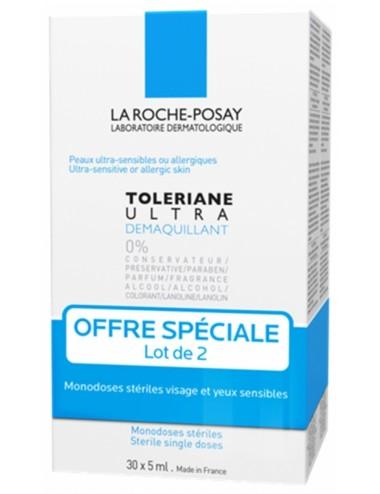 La Roche-Posay Tolériane Ultra Démaquillant Visage et Yeux Sensibles Lot De 2 x 30 doses