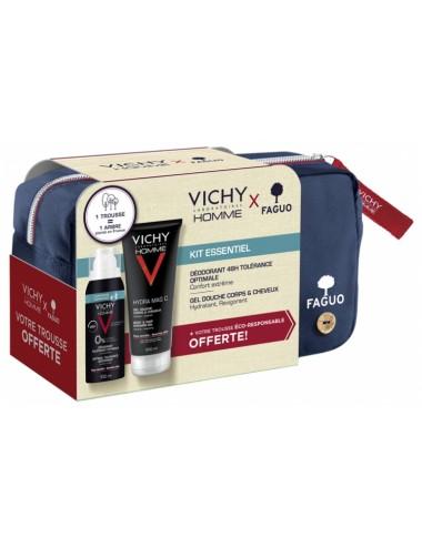 Vichy Homme Kit Essentiel 1 Déodorant Compressé + 1 Gel Douche 200ml + Trousse Faguo Offerte