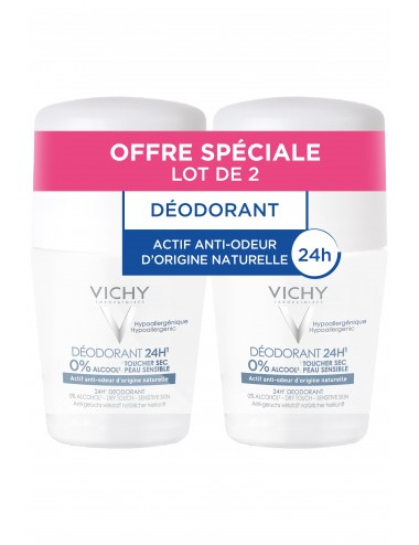Vichy LOT*2 Déodorant 24H actif anti-odeur d'origine naturelle toucher sec - Roll-on
