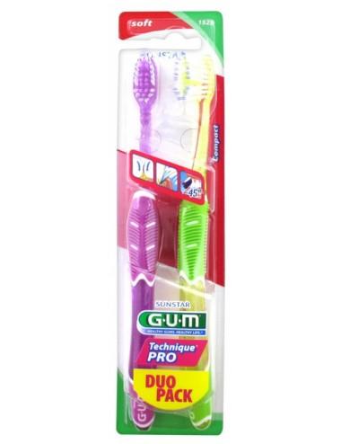 Gum Brosse à dents Technique Pro Souple Compacte                               - Lot de 2