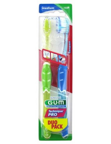 Gum Brosse à dents Technique Pro Medium Compacte - Lot de 2