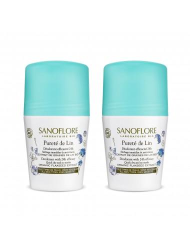 Sanoflore LOT*2 Pureté de lin Déodorant anti-traces efficacité 24h 2 x 50ml