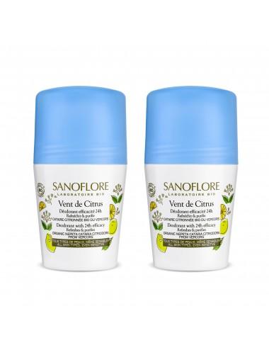 Sanoflore LOT*2 Déodorant vent de citrus Déodorant purifiant efficacité 24h 2 x 50ml