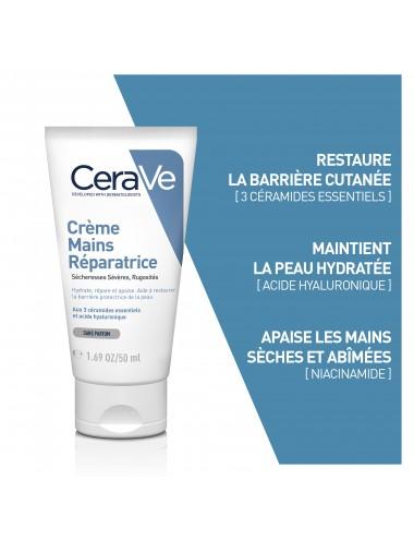 CeraVe Crèmes Mains Réparatrices pour les mains abîmées et les sécheresses sévères Lot de 2 X 50 ml