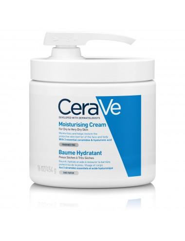 CeraVe Baume Hydratant 454 ml pot pompe visage et corps pour les peaux sèches à très sèches