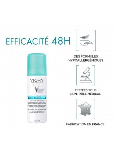 Vichy Anti transpirant Aérosol anti transpirant 48h, Anti-Traces Jaunes et Blanches, anti effet carton