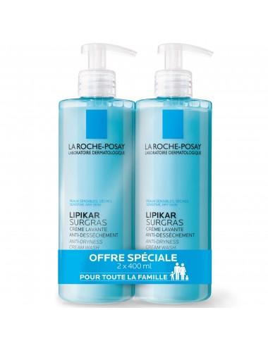 La Roche Posay LOT*2 Lipikar SURGRAS Crème lavante anti-dessèchement 400ml