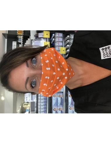 """Masque réutilisable """"Pois Orange"""" 100% coton- Lavable 30 fois"""