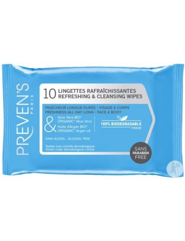 Preven's Lingette Rafraichissante Pocket 10 lingettes
