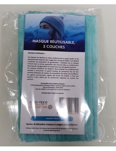 Masques réutilisables Bleu - Lavables 20 fois - Lot de 5