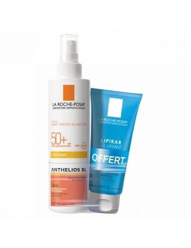 La Roche Posay Anthelios Crème Solaire en Spray Corps SPF50+ Avec Parfum 200ml + Lipikar Gel Lavant 100ml Offert