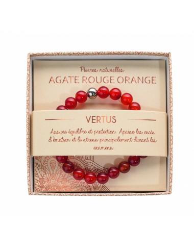 Bracelet Agate Rouge Orange 8mm