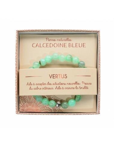 Bracelet Calcedoine Bleue 8mm