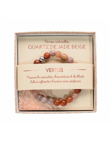 Bracelet Quartz de Jade Beige 8mm