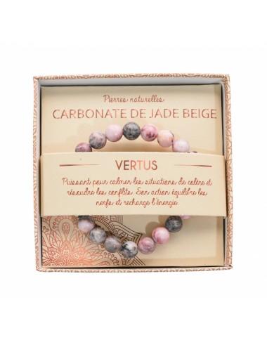 Bracelet Carbonate de Jade Beige 8mm