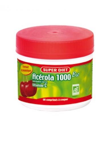 Super Diet acérola 1000 vitamine C bio maxi pot 60 comprimés