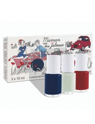 Maman va être Jalouse Coffret 3 Vernis bio-sourcés Les belles Française 3x10ml