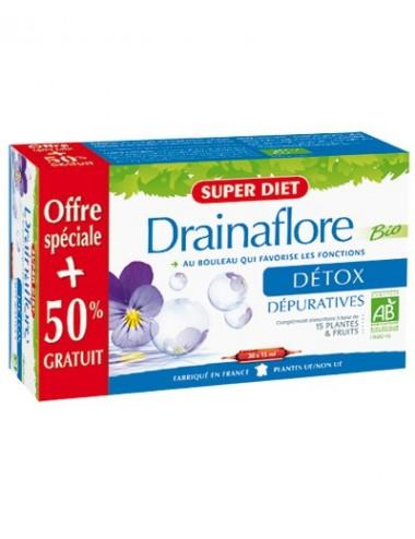 Super Diet drainaflore bio 20 ampoules + 10 gratuites