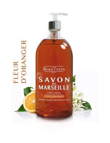 Beau Terra Savon de Marseille à la Fleur d'Oranger 1 L