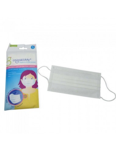 Orgakiddy Masques Anti-projection adulte blanc - sachet de 5