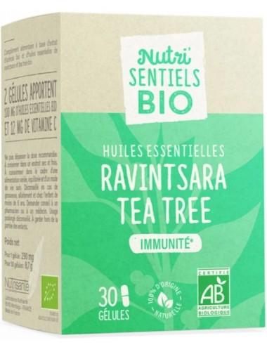 Nutrisanté Les Nutri Sentiels Bio Huiles Essentielles Ravintsara Tea Tree 30 gélules