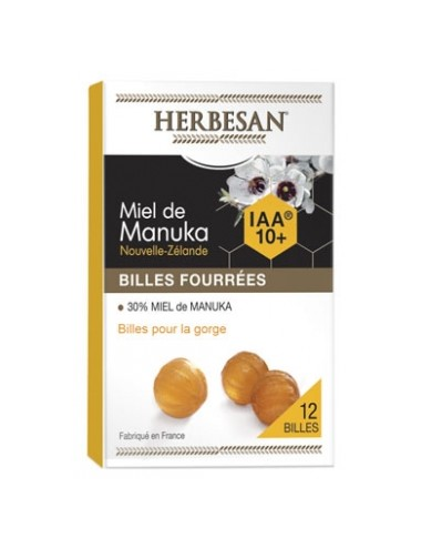 Herbesan Miel de Manuka Billes Fourrées IAA 10+ 12 Billes