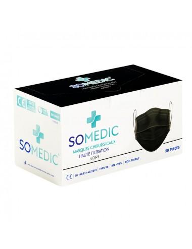 Masques Chirurgicaux Noirs - Type IIR - Boite de 50