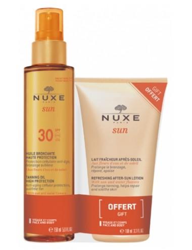 Nuxe Sun Huile Bronzante Haute Protection SPF30 150ml + Lait Fraîcheur Après-Soleil 100 ml Offert