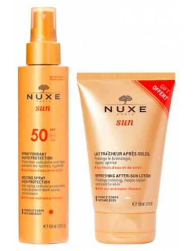 Nuxe Sun Spray solaire visage et corps haute protection SPF 50 150ml + Lait Fraîcheur Après-Soleil 100 ml Offert