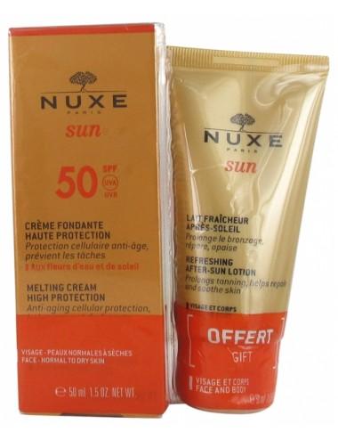 Nuxe Sun Crème Fondante Haute Protection SPF50 50ml + Lait Fraîcheur Après-Soleil 50 ml Offert