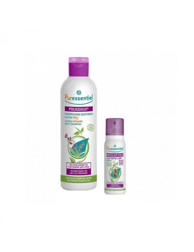 Puressentiel Anti-Poux Shampooing Quotidien PouxDoux Bio 200ml + Spray Répulsif Poux 75ml