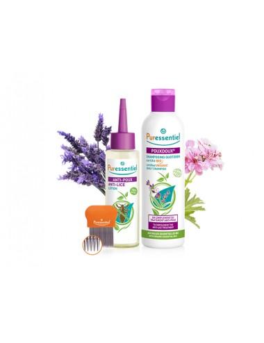 Puressentiel Lotion Traitante Anti-Poux 100ml + Peigne + Pouxdoux Shampoing Quotidien Bio 200ml